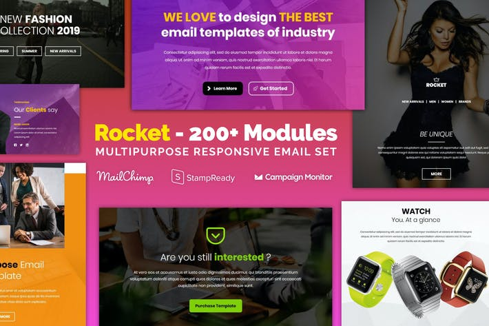 Thumbnail for Rocket - Responsive Email with 200+ Modules