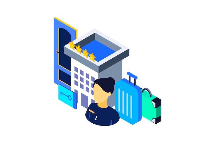 Thumbnail for Hotel Isometric Illustration