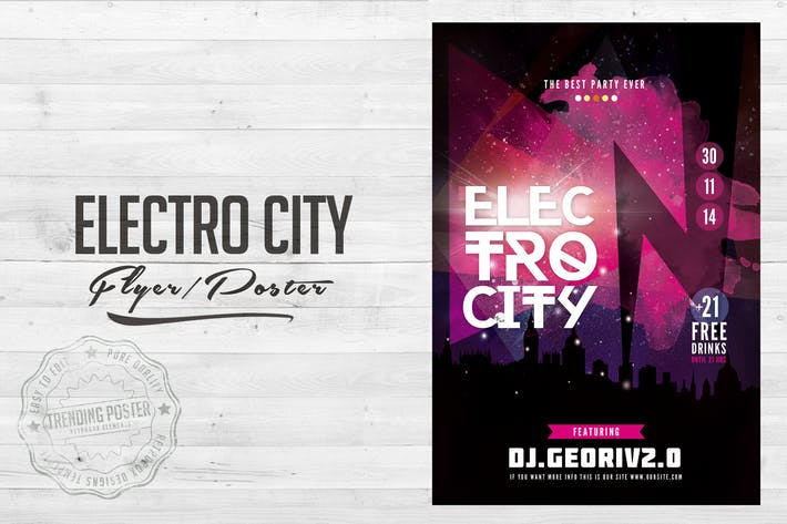 Thumbnail for Electro City Flyer Poster