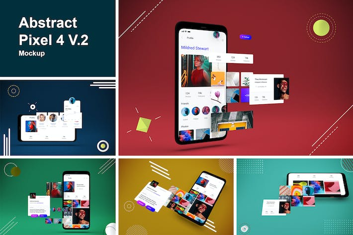 Abstract Pixel 4 Mockup V.2