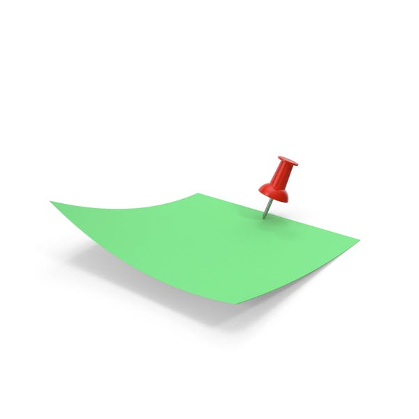 Green Paper with Red Pin
