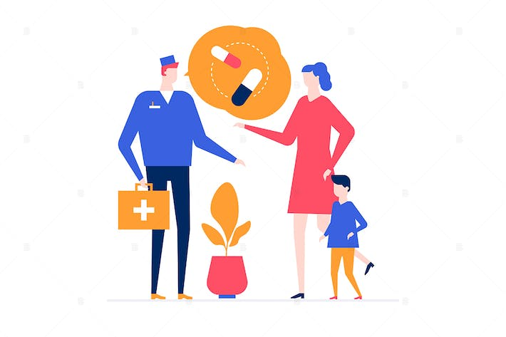 Thumbnail for Visiting a doctor - flat design style illustration