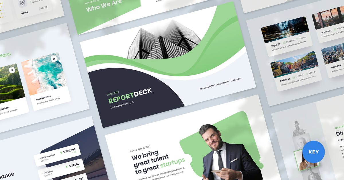 Download Annual Report & Infographic Keynote Template by Krafted