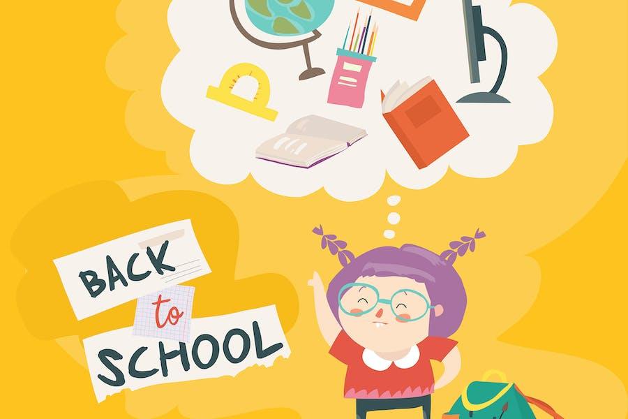 Linda chica se está preparando para la escuela. Volver a sch