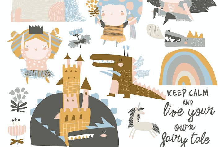 Thumbnail for Vector set of cute little princesses, dragons and