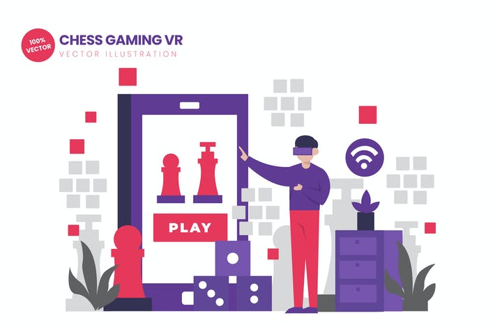Thumbnail for Chess Gaming VR Flat Vector Illustration