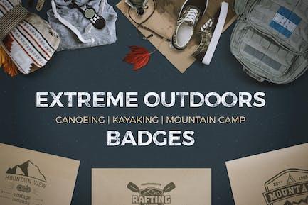 9 Extreme Outdoor-Abzeichen und Vintage-Etiketten