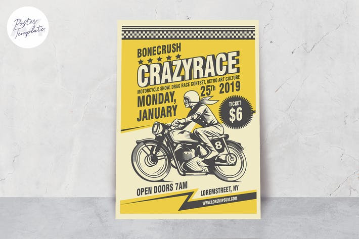 Thumbnail for Classic Motorrad Poster Vorlage