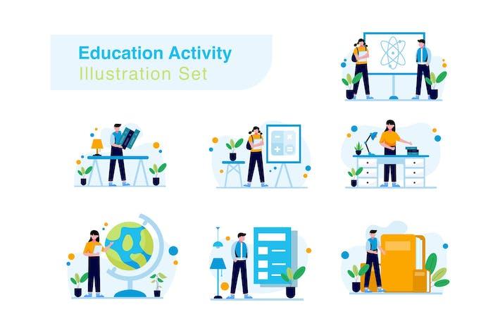Bildungs- und Aktivitäts-Illustrations-Set
