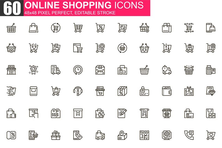 Thumbnail for Online Shopping Thin Line Icons Pack