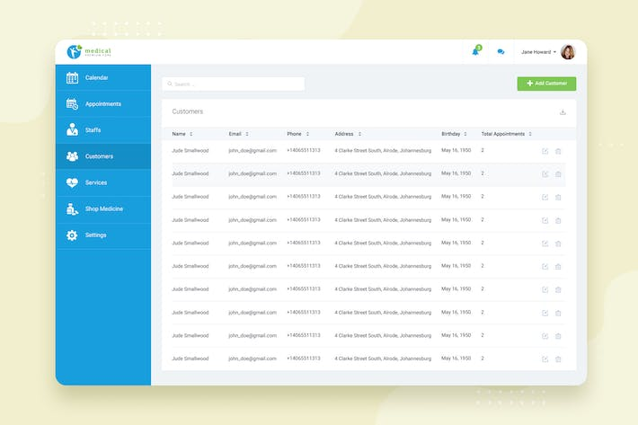 Thumbnail for Customers - CRM booking Web-based UI design
