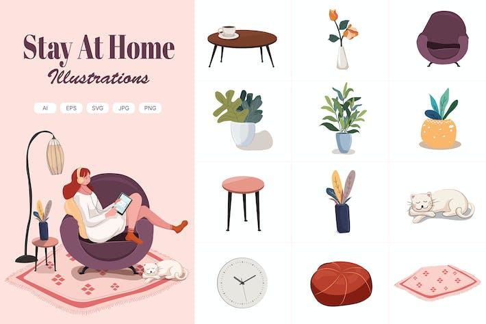 Thumbnail for Bleiben Sie zu Hause Illustrationen