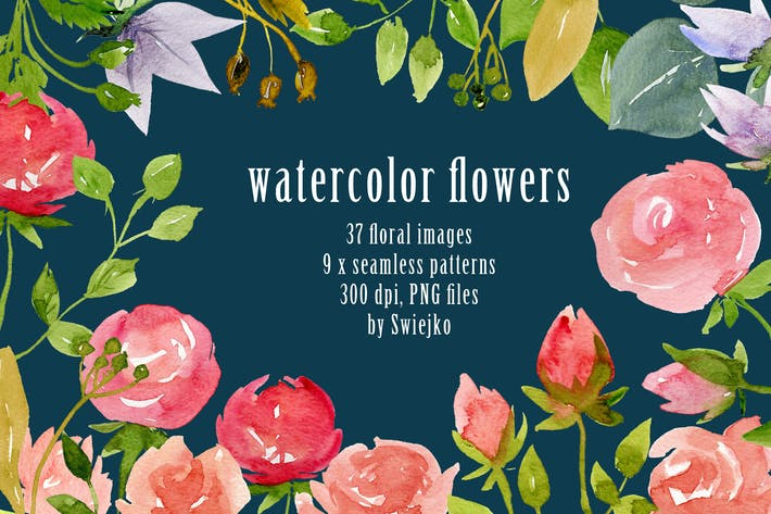 Thumbnail for Watercolor flowers and backgrounds