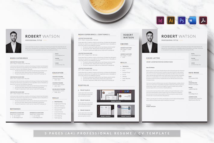 Thumbnail for Dark & Minimalist Resume/CV AN