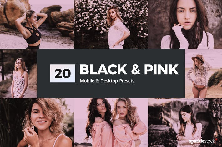 Thumbnail for 20 Black & Pink Lightroom Presets and LUTs