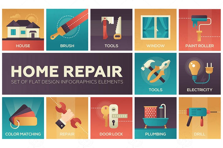 Thumbnail for Home repair - vector modern flat design icons set