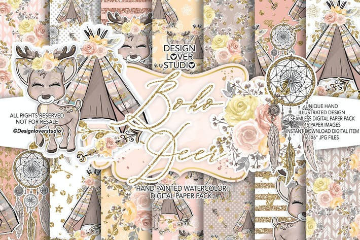 Thumbnail for Boho deer Cute digital paper pack