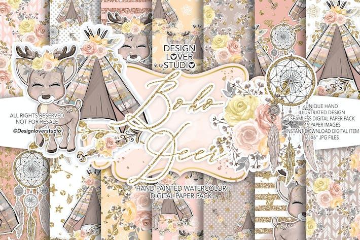 Cover Image For Boho deer Cute digital paper pack