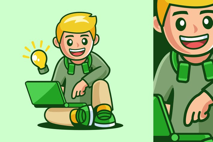 Niño joven sentado con portátil