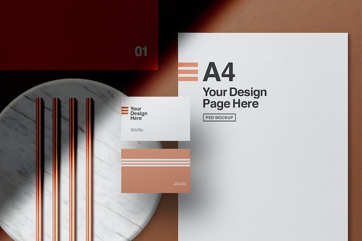 Thumbnail for Stationery with Copper Pipes Mockup
