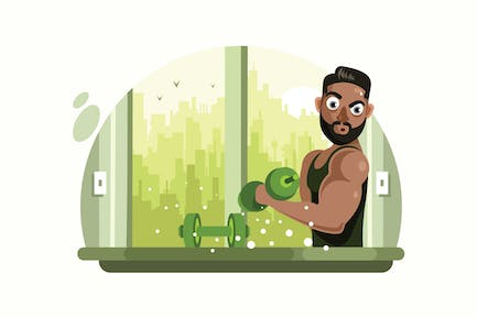 Fitness Man with Barbell Vector Illustration