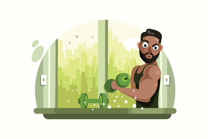 Thumbnail for Fitness Man with Barbell Vector Illustration