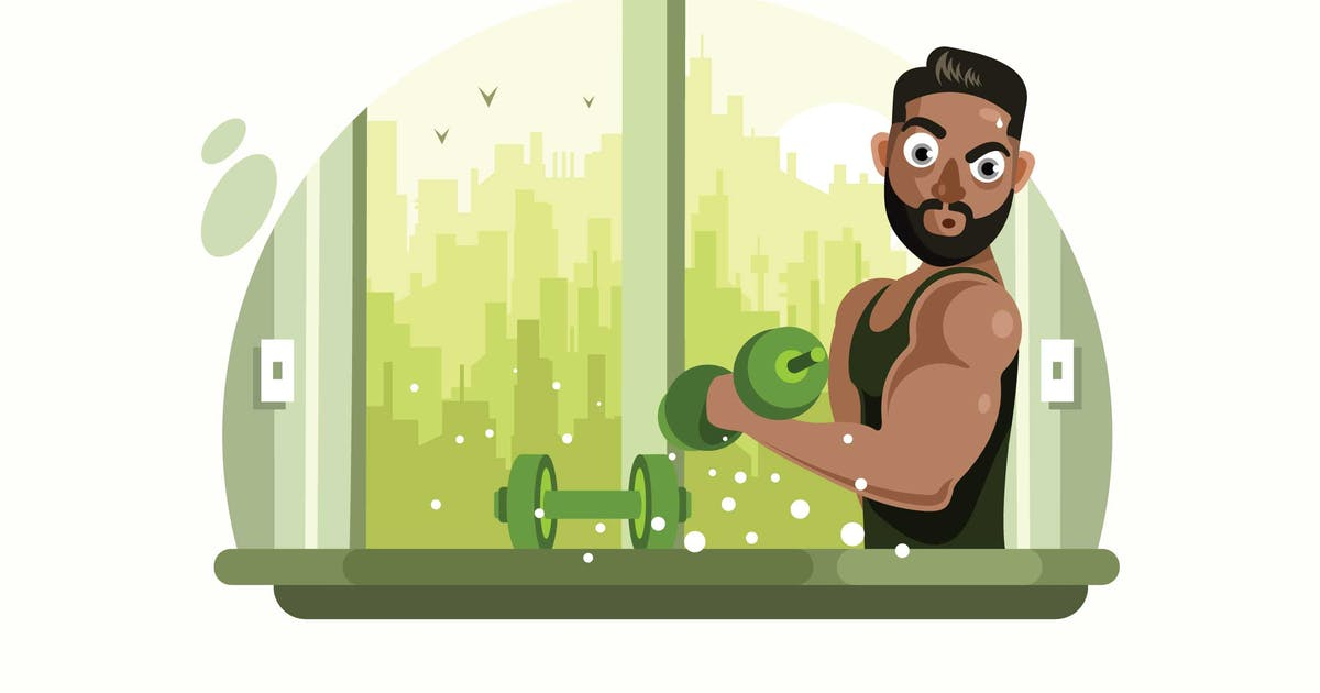 Download Fitness Man with Barbell Vector Illustration by IanMikraz