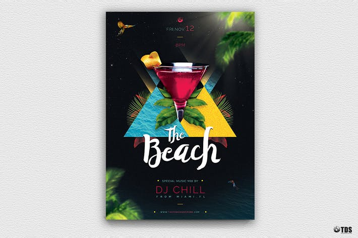 Thumbnail for Night at The Beach Flyer Template
