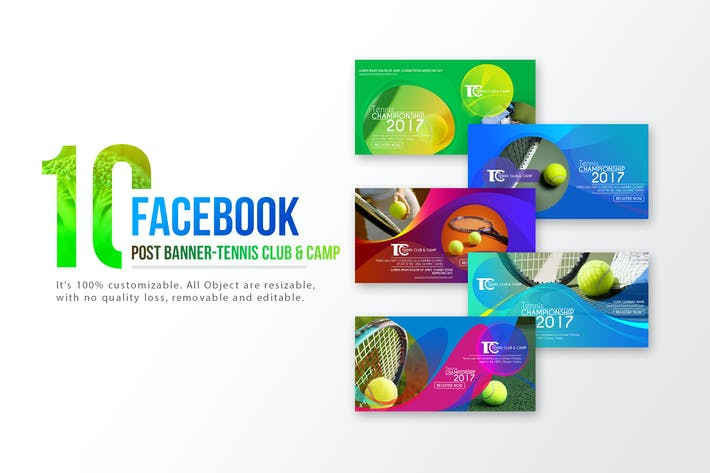 Thumbnail for 10 Facebook Post Banners-Tennis Club and Camp