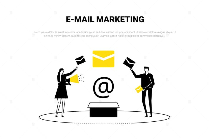 Thumbnail for Email marketing - flat design style web banner