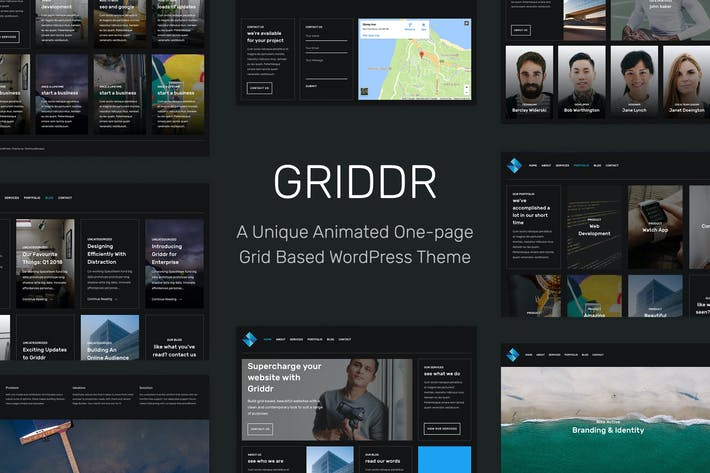 Thumbnail for Griddr - Animated Grid Creative WordPress Theme