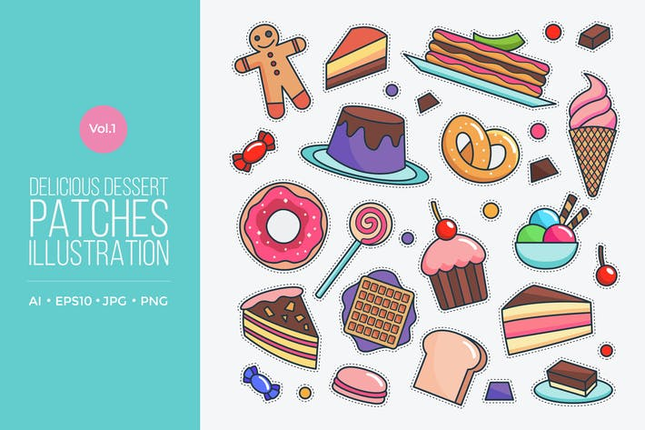 Thumbnail for Delicious Dessert Patches Vector Vol.1