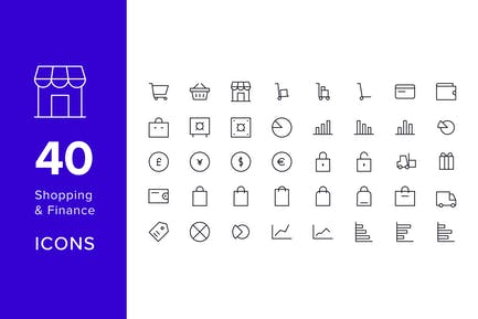 40 Line Icons - Shopping & Finance