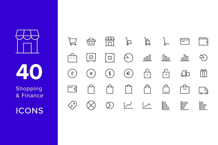 Thumbnail for 40 Line Icons - Shopping & Finance