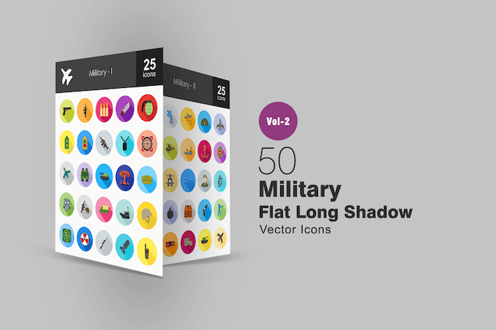 Thumbnail for 50 Military Flat Long Shadow Icons