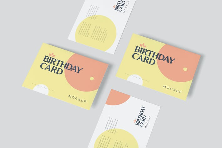 Thumbnail for Single Page A6 Size Rectangle Birthday Card Mockup