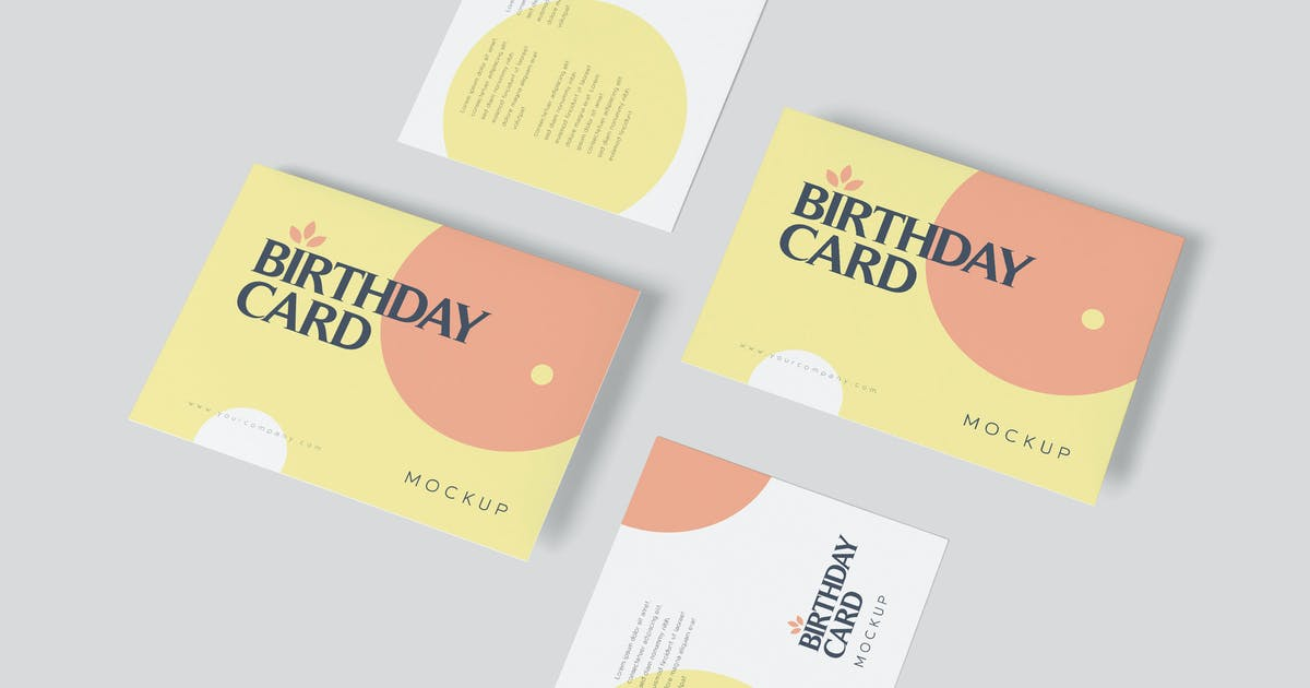 Download Single Page A6 Size Rectangle Birthday Card Mockup by GfxFoundry