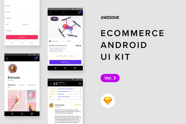 Thumbnail for Android UI Kit - Ecommerce Vol. 3 (Sketch)