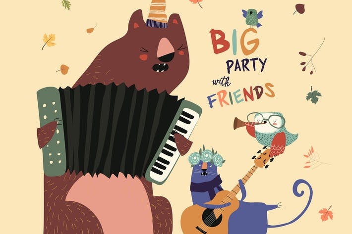 Thumbnail for Birthday card with cute animals playing the musica