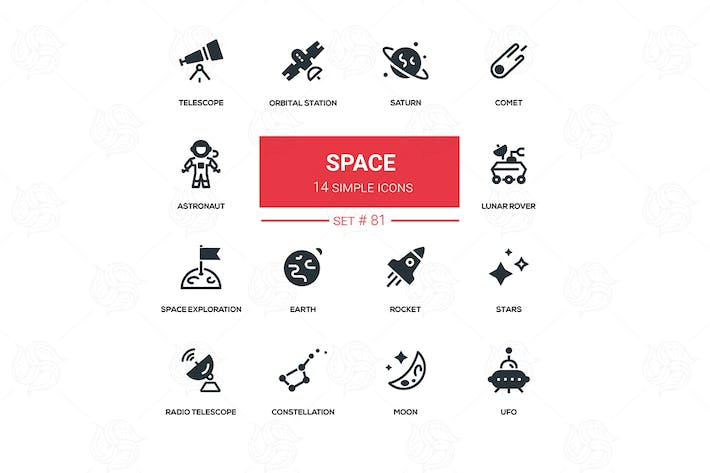 Thumbnail for Space concept - line design silhouette icons set