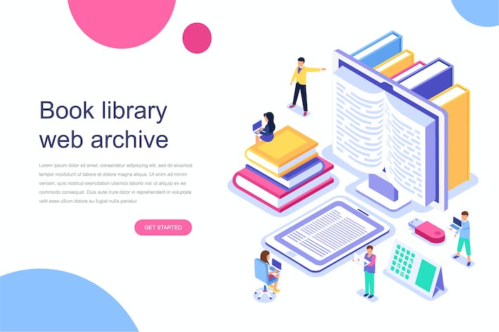 Cover Image For Book Library Isometric Concept