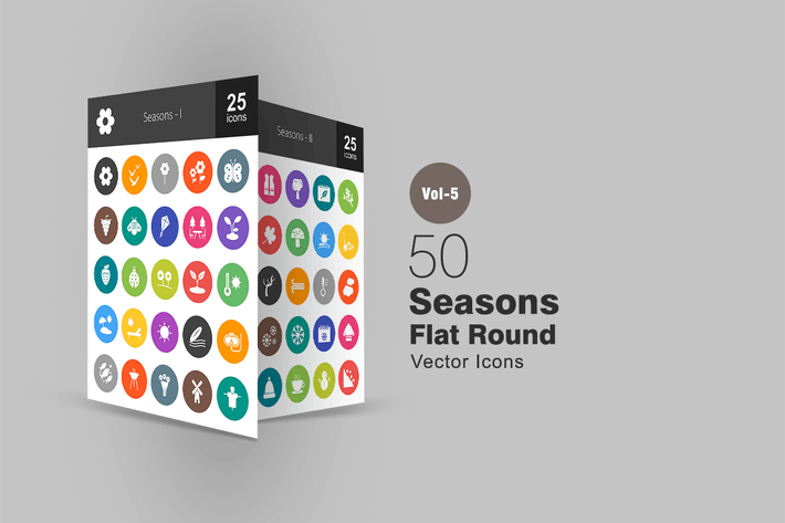 Thumbnail for 50 Seasons Flat Round Icons