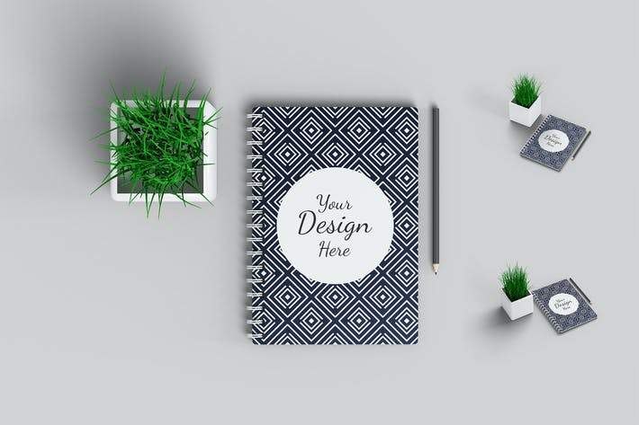 Thumbnail for Notebook Mockup with plant and pencil