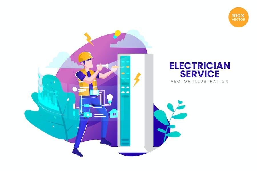 Electrician Service Vector Illustration Concept