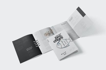 Roll-Fold Brochure Mockup in 8.5x11 Inch US Letter