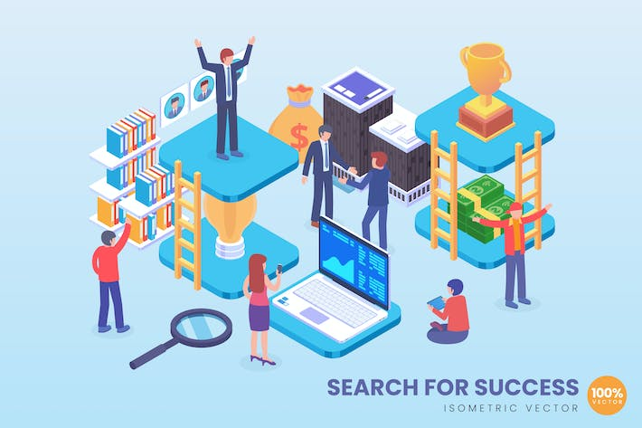 Thumbnail for Isometric Search For Success Achievement Vector