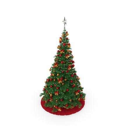 Weihnachtsbaum mit silbernem Sternaufsatz