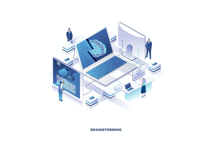 Thumbnail for Brainstorming Isometric Banner Flat Concept