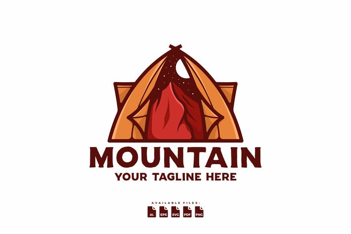Hand-drawn Mountain Logo Template
