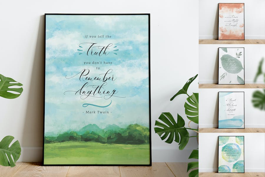Watercolor Background With Quotes